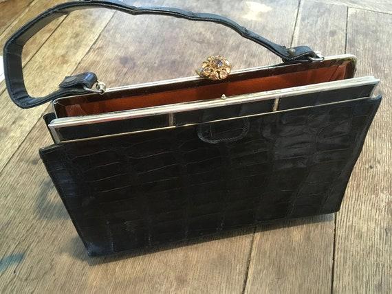 Vintage Black Vassar Handbag Genuine Alligator Pur