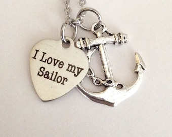 Sailor wives necklace, I love my sailor, petite stainless steel necklace, military wives, navy wives, blue jackets