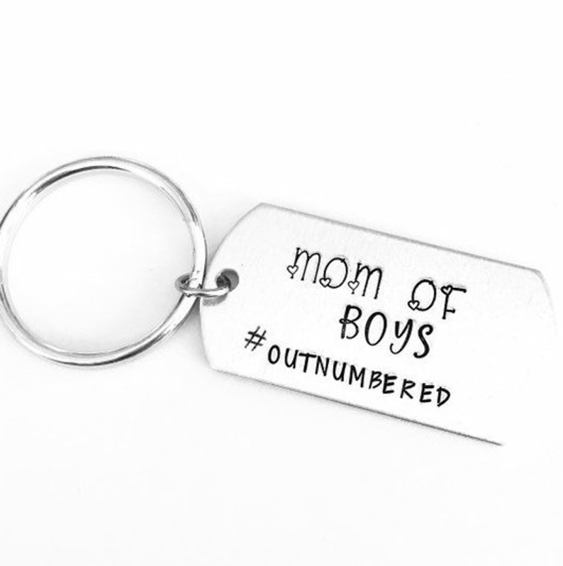 Mothers Keychain Mom Of Boys Keyring Outnumbered
