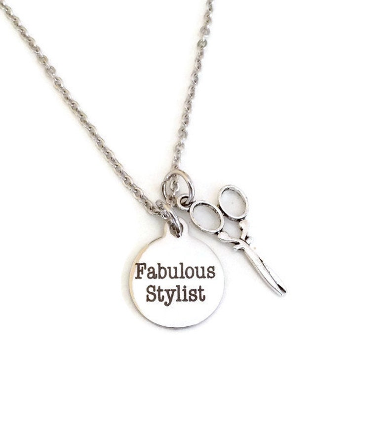 stylist hair cutter fabulous stylist petite stainless steel necklace beautician Hair stylist necklace gifts for stylists