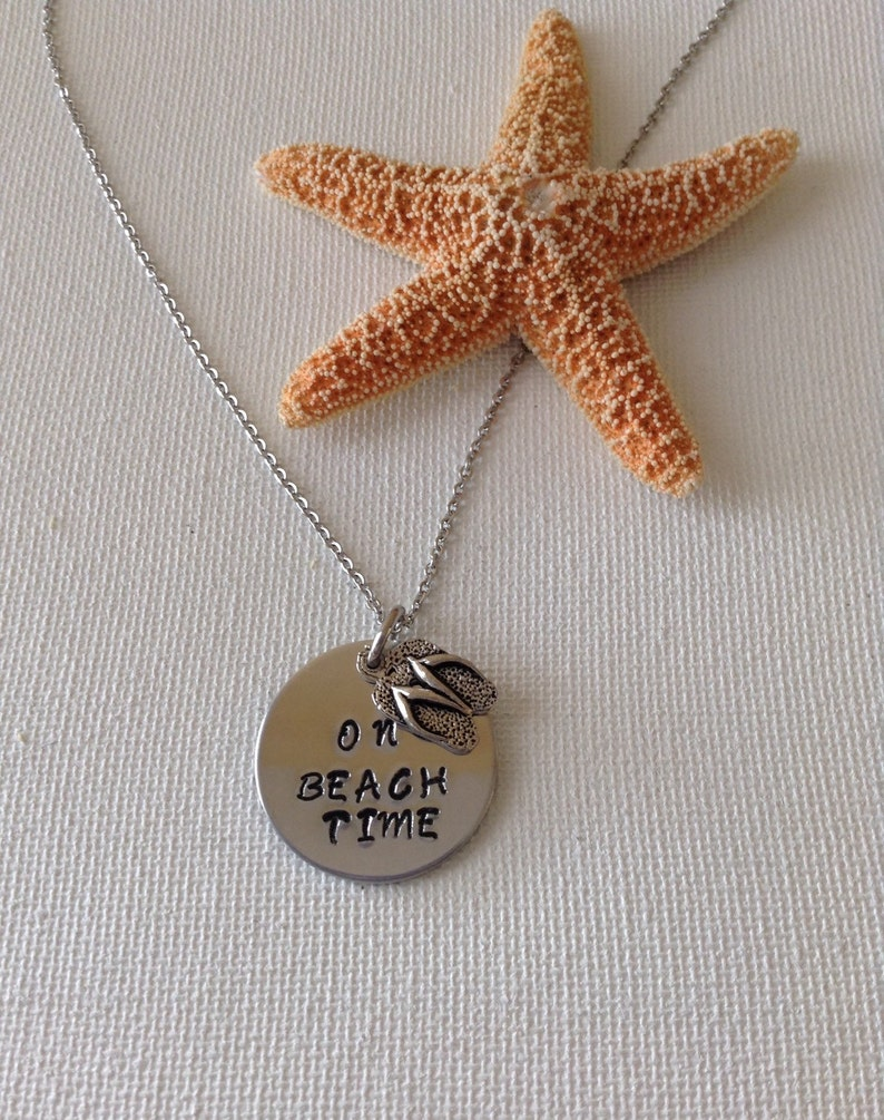 beach lovers On beach time necklace ocean necklace beach weddings gifts for beach lovers mermaids bridesmaids vacation time