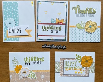 Set of 5 Handmade Greeting Cards with Various Sentiments