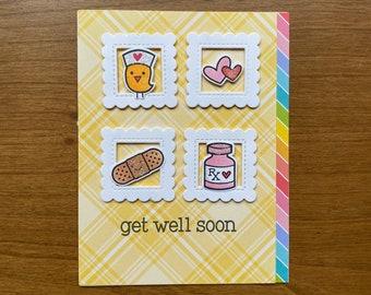 Nurse Bird Get Well Soon Handmade Greeting Card