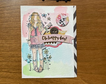 Hippie Oh Happy Day Handmade Greeting Card