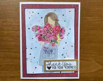 Gardening Themed Thank You Handmade Greeting Card