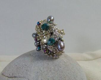 Vintage Rhinestone n Cultured Freshwater Pearl Adjustable Ring