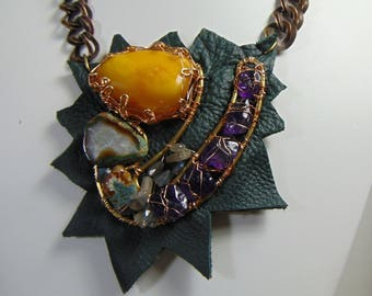 """Brass n Leather Bejeweled """"Arty Choker"""" Necklace"""