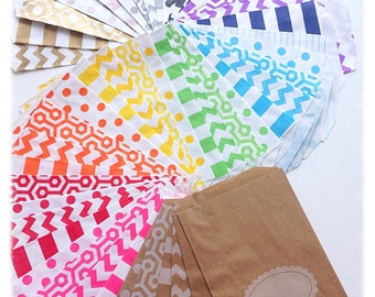 BITTY BAGS Paper Favor Bags ~ Wedding / Treat Bags, Glassine, Kraft Rose Gold Grey Pink Red Damask Casablanca Chevron Stripes Dots Honeycomb