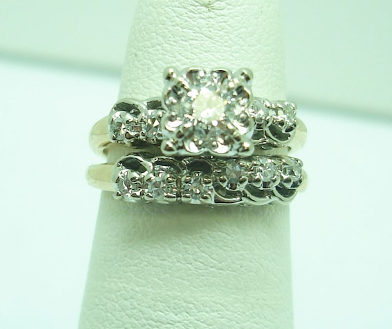 Vintage gold and diamond engagement and wedding s… - image 1