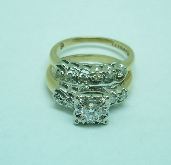 Vintage gold and diamond engagement and wedding s… - image 4