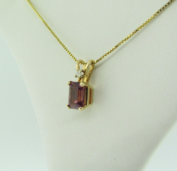 Pink Tourmaline Solitaire Pendant, Yellow Gold - image 1