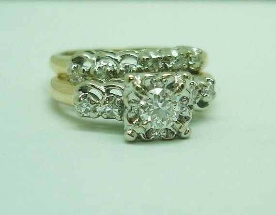 Vintage gold and diamond engagement and wedding s… - image 5