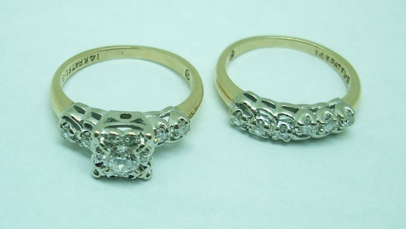 Vintage gold and diamond engagement and wedding s… - image 3
