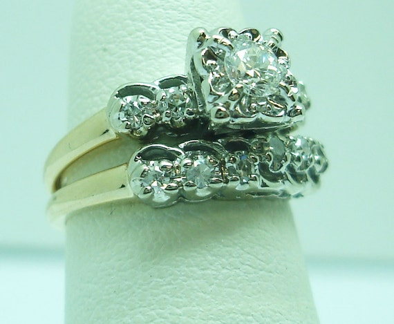 Vintage gold and diamond engagement and wedding s… - image 2
