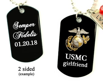 0d25317df4 USMC Marine Corps Military Dog Tag Necklace w  saying