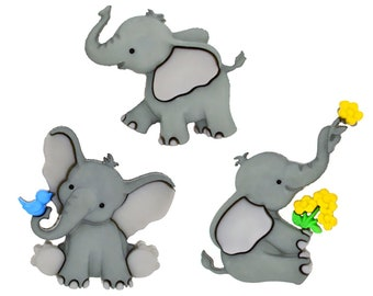 Pack of 8 brightly coloured Elephant Buttons
