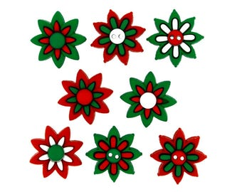 Holiday Blooms Jesse James Christmas Buttons in Red Green White Poinsettia Flowers Sewing Knit Crochet Supply New Holiday Dinner Decor Ideas