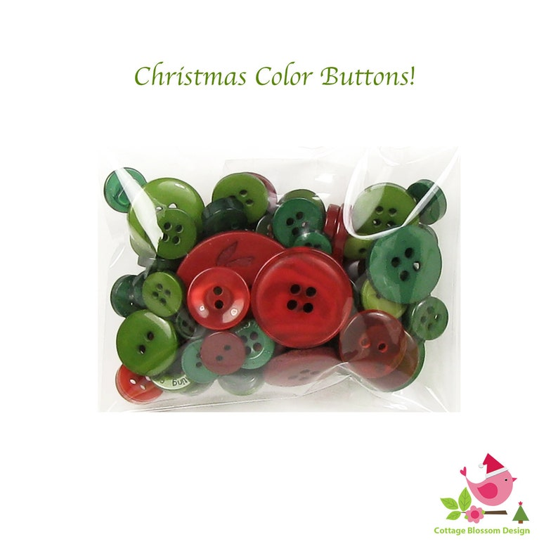 Christmas Holiday Button Assortment in Primitive Country Colors Old Fashioned Vintage Pine Tree Lime Green Cranberry Red Small to Large Size