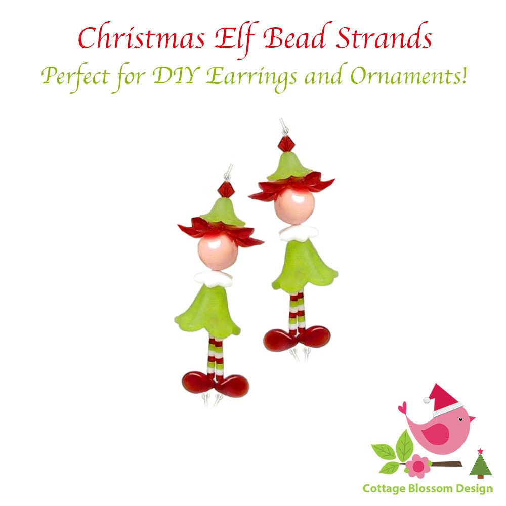 Christmas Elf Bead Strands For Making Holiday Earrings Miniature ...