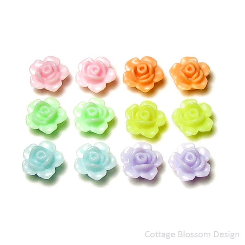cf871848e Small Flower Beads 13mm Pastel Acrylic Rose Petite Cute | Etsy