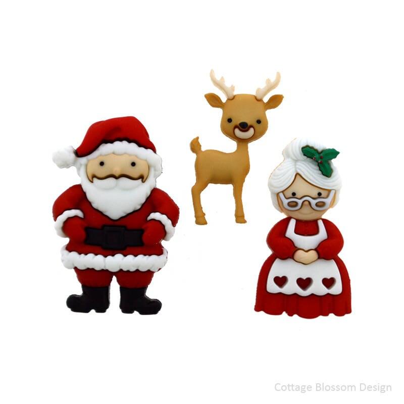 Mr & Mrs Santa Claus Jesse James Christmas Buttons Santa\'s Red Suit ...