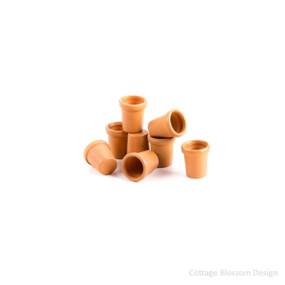 Miniature Dollhouse FAIRY GARDEN ~ 3 Tan English Planter Pots with Moss