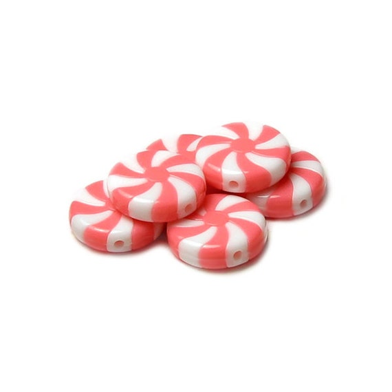 Peppermint Stripe Pink White Candy Beads 22mm Acrylic Mini Mint Food Color Twist Dessert Sweet Christmas Jewelry Kid S Holiday Craft Project