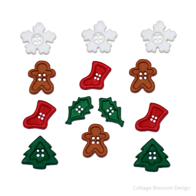 Red or Green 3 Christmas Gift Package Buttons Jesse James Glitter Bow