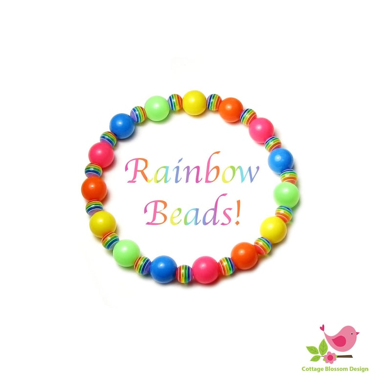 Rainbow Beads 12mm Round Acrylic in Pink Orange Yellow Green Blue /& 8mm Colorful Stripes Girl/'s Stretch Bracelet Jewelry Idea Craft Projects