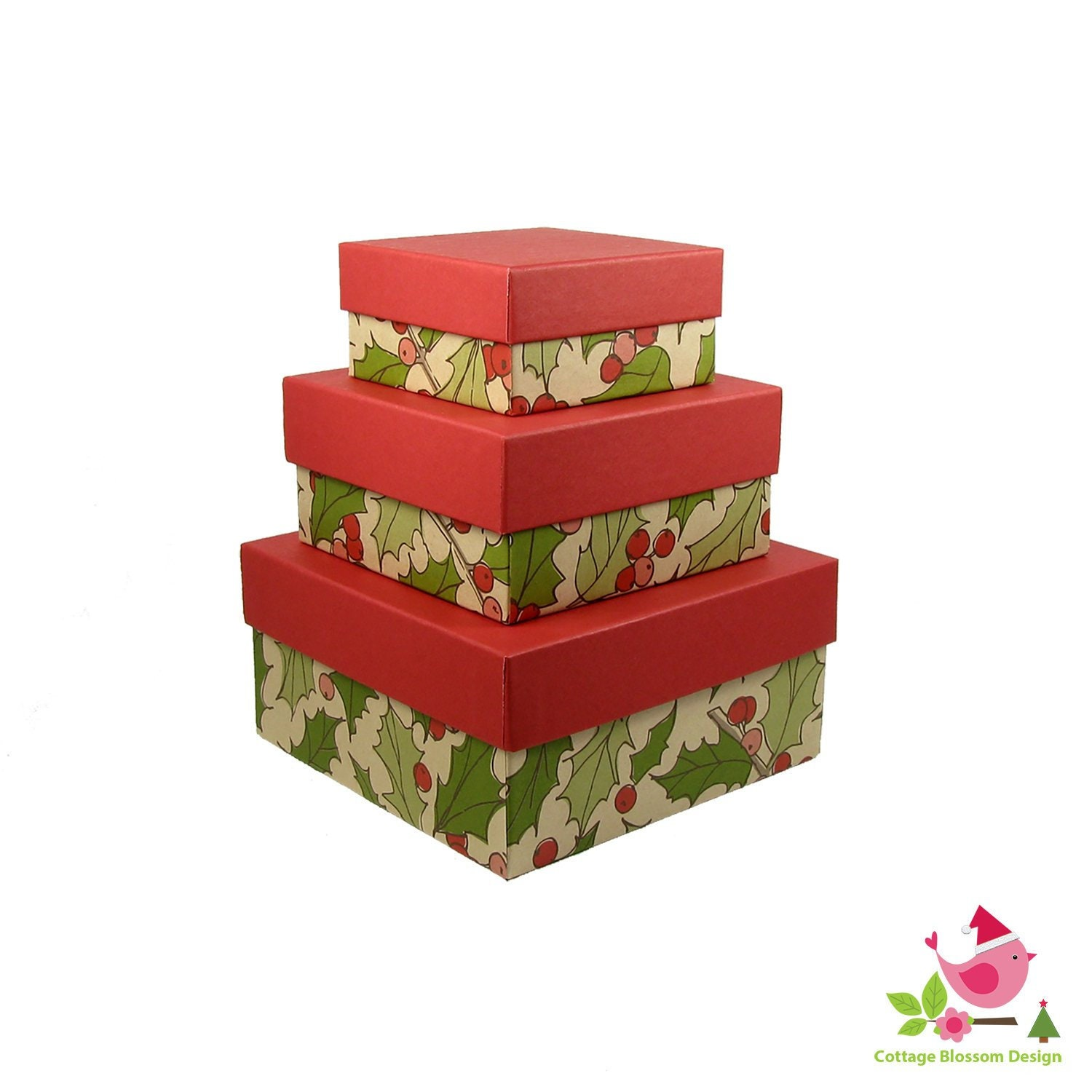 Set of 3 Christmas Nesting Boxes Green Holly Leaf & Red Berry ...