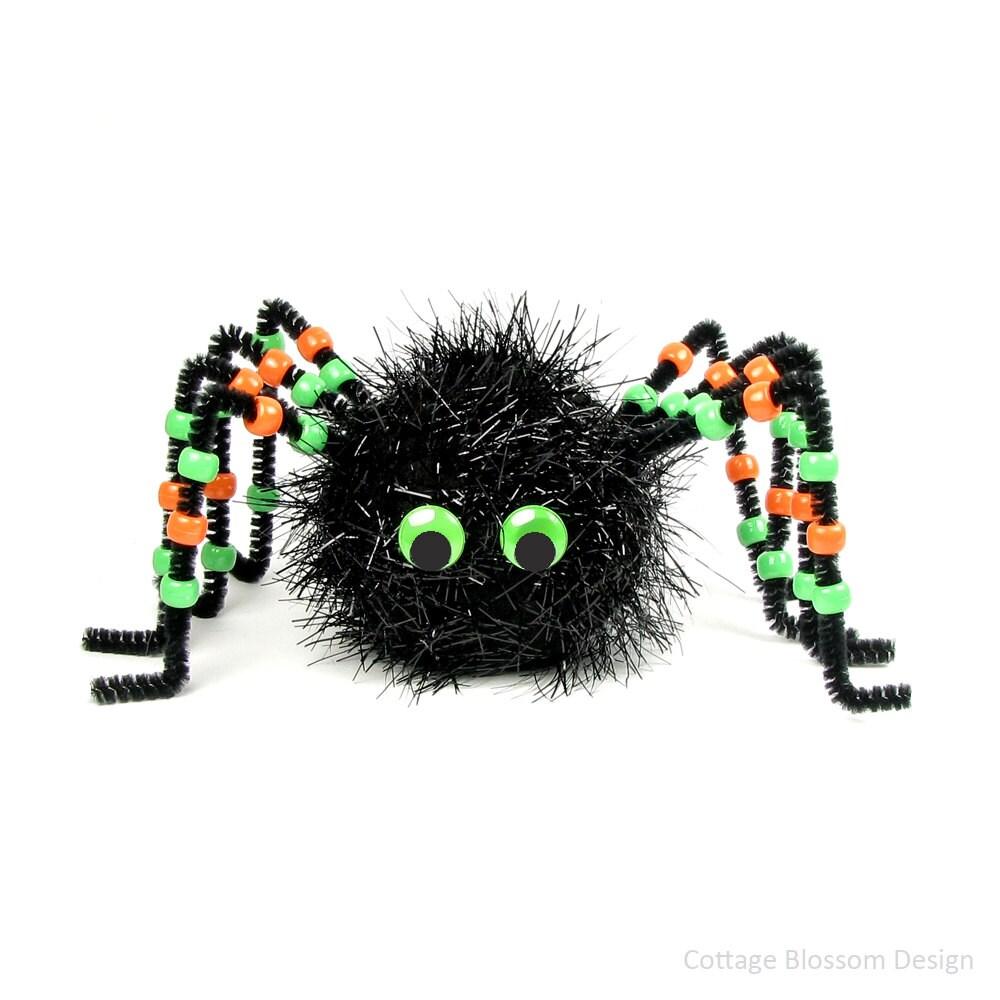 big black spider pom pom kit set of 2 diy halloween fun craft for