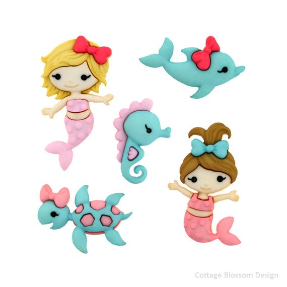 Dolphin Turtle Seahorse Girl Sea Dress It Up Craft Buttons MERMAID KISSES
