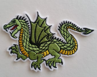 7 cm x 10 cm ( 2.76'' x 3.94'') Big dragon iron on or sew on patch Dragon patches Dragon applique Dragon embroidery Dragon sew on patch