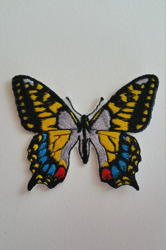6cm BLUE PATCHWORK BUTTERFLY Embroidered Sew Iron On Cloth Patch Badge APPLIQUE