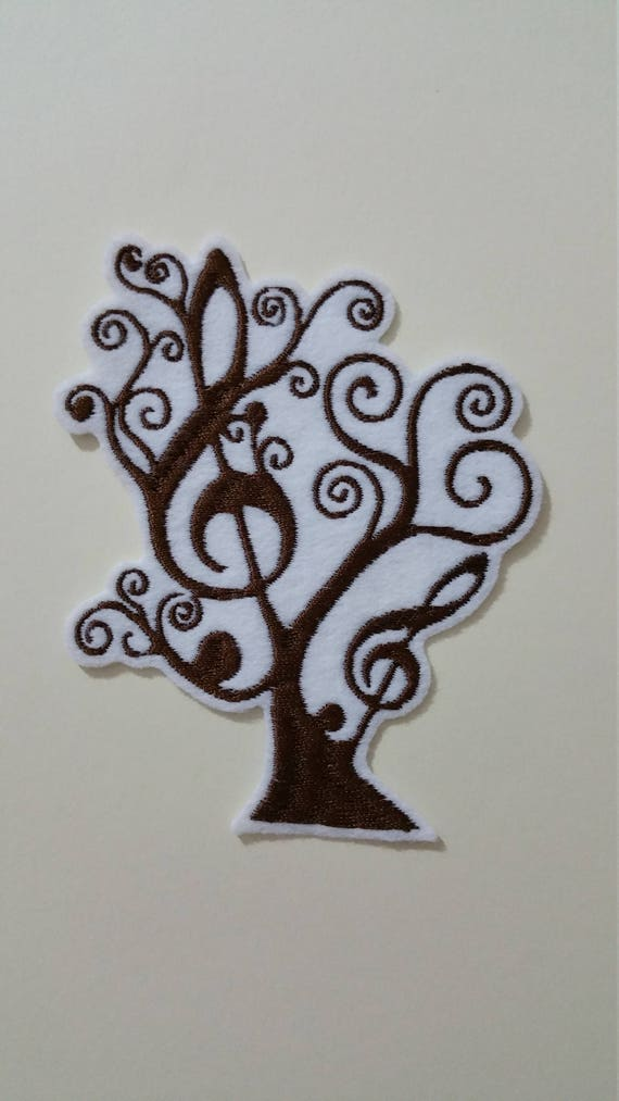 MUSICAL NOTE PATCH treble clef; 3 designs; SEW-ON//IRON-ON *BN* embroidered