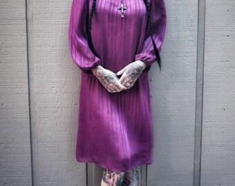 Purple pink semi transparent vintage dress goth