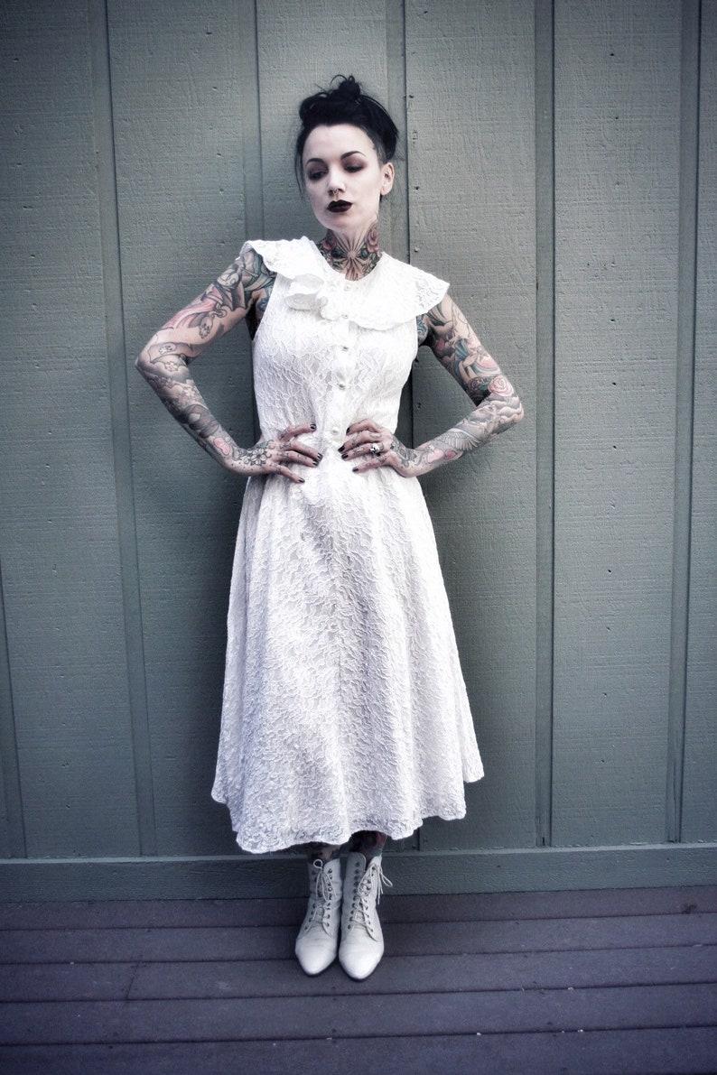 37201ab455ea White vintage lace button front midi dress   Etsy
