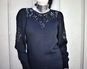 Black sequin sweater goth vintage 80s