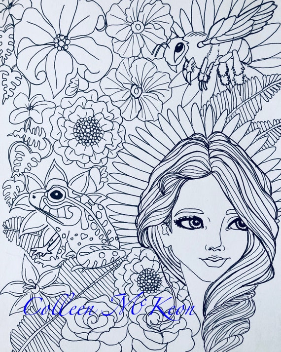 Adult Coloring Page Adult Coloring Book Adult Colouring Etsy
