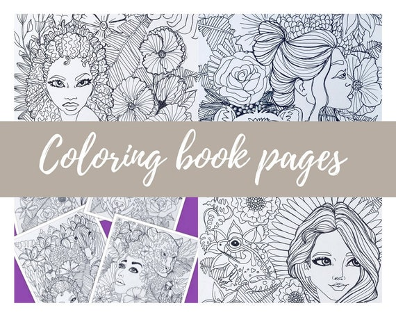 - 4 Pack 2 Downloadable Coloring Pages Adult Coloring Book For Etsy