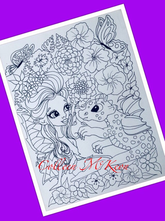 Fairy Dragon Adult Coloring Pages Printable Instant Etsy