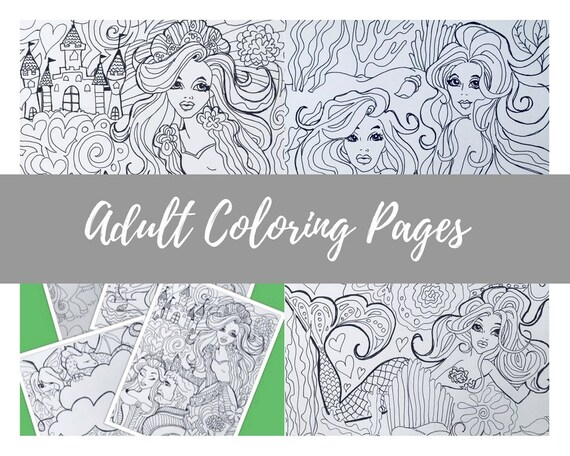 4 Pack Digital Download Fantasy Coloring Book Pages Flowers Fairies Dragons Mermaids Unicorns Downloadable Coloring Pages Printable