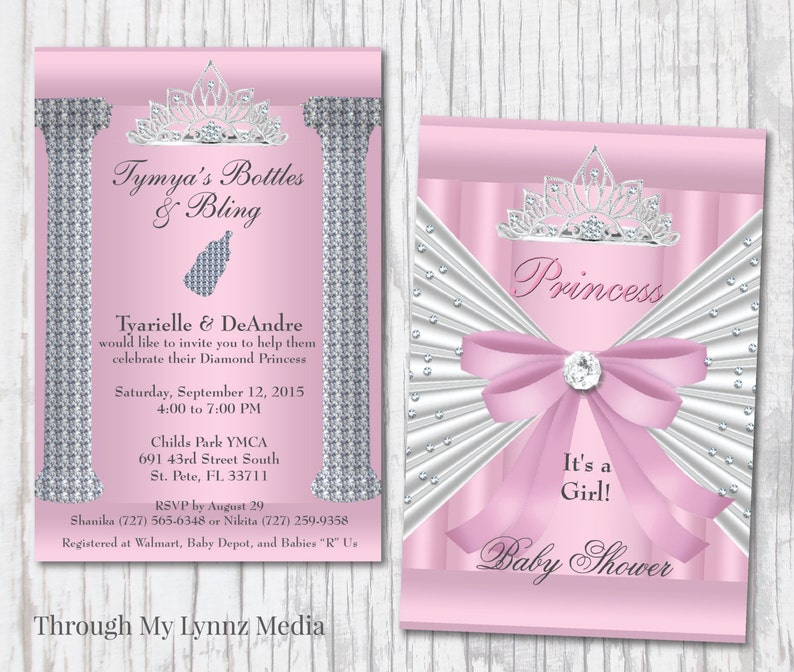 Bling Baby Shower Invitations Pink Princess Baby Shower Etsy