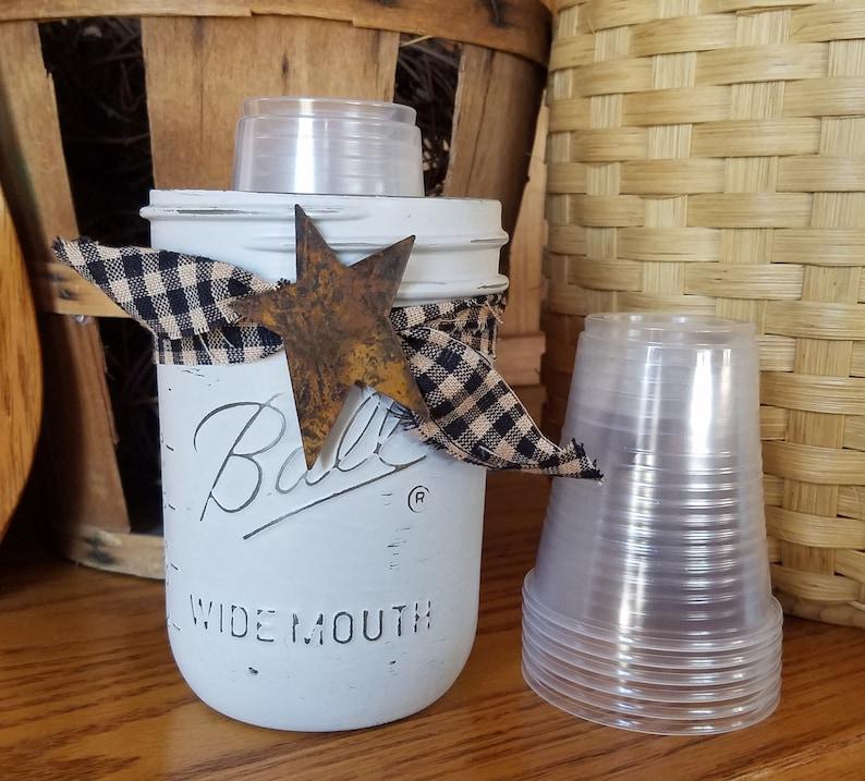 Mason Jar Dixie Cup Holder, Pint Jar Cup Holder, 5 oz Cups~Urban Farmhouse  Cup Holder, Country Bathroom Decor, Chalk Paint Cup, Holder