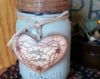 Pint Mason Jar w/Rusty Lid~Vintage~Farmhouse~Country Prim Shelf Sitter