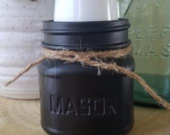 Mason Jar Dixie Cup Holder, 1/2 Pint Cup Holder, 3 oz Cups, Urban Farmhouse Cup Holder, Country Vintage Bathroom Decor, Chalk Paint