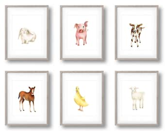 Baby Farm Animal, Set of 6 Prints, Nursery Art, Pig, Lamb, Bunny, Horse, Duck, Cow, Farmyard Prints, Kids Art, Toddler Wall Decor, Baby