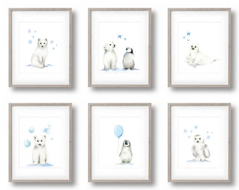 Arctic Nursery Art, Set of 6 Prints, Penguin, Polar Bear, Arctic Fox, Snowy Owl, Blue, Gender Neutral Baby, Baby Boy, Kids Art Prints