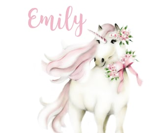 Unicorn Nursery Art, Custom Name, Pink Flowers, Pink Bow, Unicorn Art Print, White Horse, Whimsical, Personalized Art Print, Baby Girl Decor