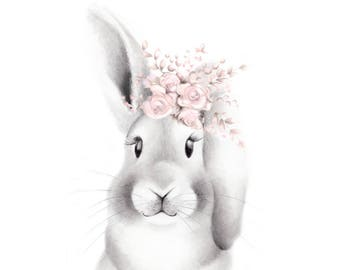 Bunny Nursery Art, Baby Animal Face, Pink Flowers, Woodland Print, Rabbit Drawing, Bunny Sketch Portrait, Forest Art, Girl Floral Art Print